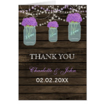 Barnwood  purple floral mason jars  Thank You Card