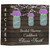 barnwood purple flowers Mason Jar Recipe Folder