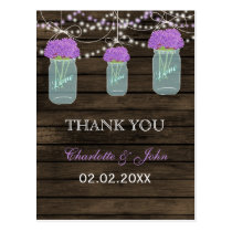 Barnwood purple flowers mason jars Thank You notes Postcard