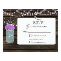 Barnwood  purple flowers mason jars wedding RSVP Card