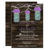 Barnwood, purple mason jar wedding invitations