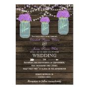 Rustic barnwood purple flowers in a mason jar wedding invites by mgdezigns