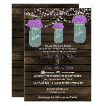 Barnwood, purple mason jar wedding invites