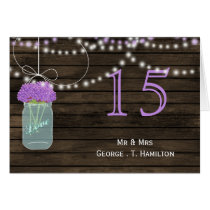 Barnwood  purple mason jars table numbers card
