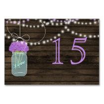 Barnwood  purple mason jars wedding table numbers card