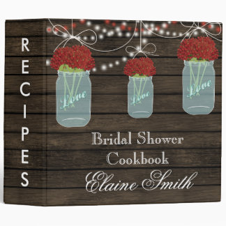 barnwood red flowers Mason Jar Recipe Folder