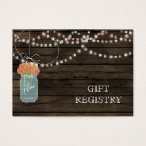 Barnwood Rustic coral mason jars gift registry Business Card