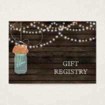 Barnwood Rustic coral mason jars gift registry Business Card