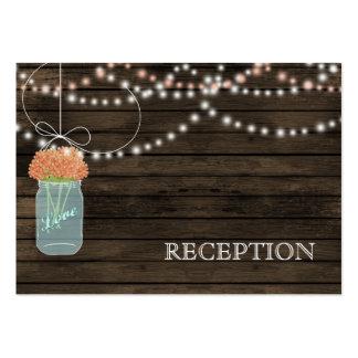 Barnwood Rustic coral mason jars reception invite Business Card Template