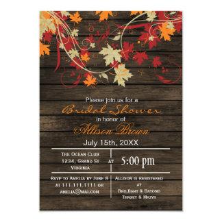 Barnwood rustic fall bridal shower card