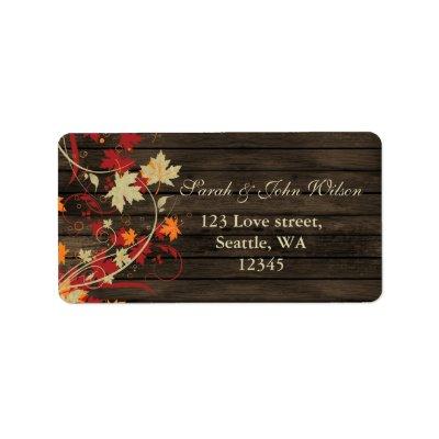Barnwood Rustic ,fall leaves address label