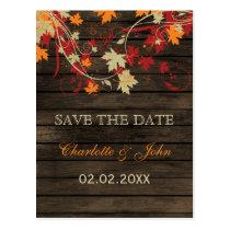 Barnwood Rustic ,fall leaves fall save the Date Postcard