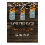 Barnwood Rustic fall leaves mason jars save dates Post Cards