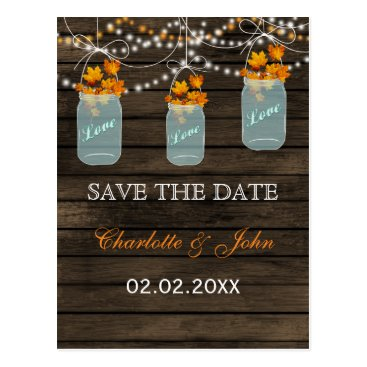 Barnwood Rustic fall leaves mason jars save dates Postcard