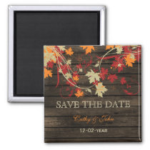 Barnwood Rustic ,fall leaves save the Date 2 Inch Square Magnet