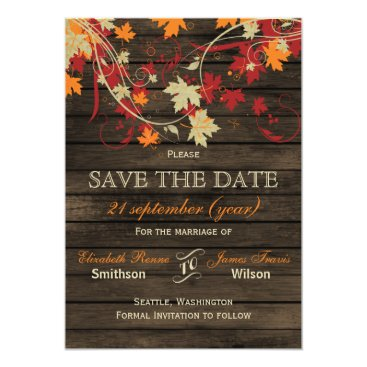 Barnwood Rustic ,fall leaves save the date Card