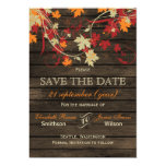 """Barnwood Rustic ,fall leaves save the date 5"""" X 7"""" Invitation Card"""