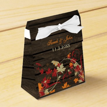 Barnwood Rustic ,fall leaves wedding favor box
