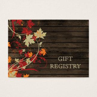 Barnwood Rustic ,fall leaves wedding gift registry Business Card