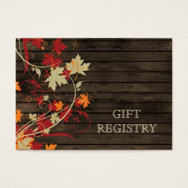 Barnwood Rustic ,fall leaves wedding gift registry Business Card