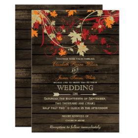 Barnwood, Rustic Fall leaves wedding invitations