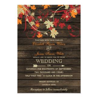 "Barnwood, Rustic Fall leaves wedding invitations 5"" X 7"" Invitation Card"