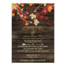 Barnwood, Rustic Fall leaves wedding invitations