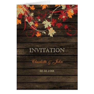 Barnwood, Rustic Fall leaves wedding invites