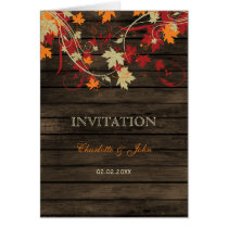 Barnwood, Rustic Fall leaves wedding invites Card