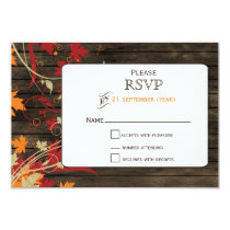 Barnwood Rustic ,fall leaves wedding RSVP 3.5 x 5 Card