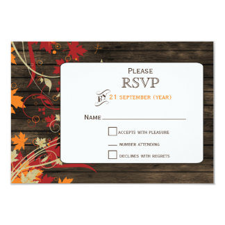Barnwood Rustic ,fall leaves wedding RSVP 3.5 x 5 Card