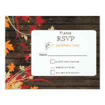 Barnwood Rustic ,fall leaves wedding RSVP Card