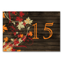 Barnwood Rustic ,fall leaves wedding table numbers Card