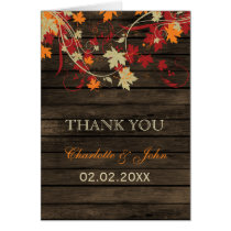 Barnwood Rustic ,fall leaves wedding Thank You Card