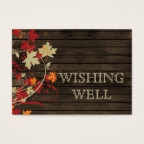 Barnwood Rustic ,fall leaves wedding wishing well Business Card