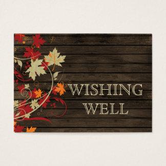 Barnwood Rustic ,fall leaves wedding wishing well Business Card