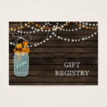 Barnwood Rustic fall  mason jars gift registry Business Card