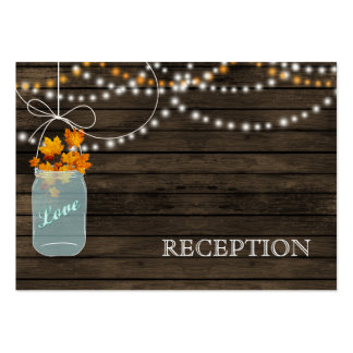 Barnwood Rustic fall mason jars reception invite Large Business Card