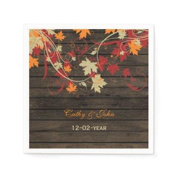 Barnwood Rustic ,fall  personalized wedding napkin