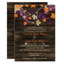 Barnwood Rustic Fall plum leaves wedding Card