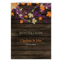 Barnwood, Rustic Fall plum leaves wedding invites Card