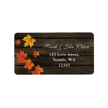 Barnwood Rustic Fall Wedding address label