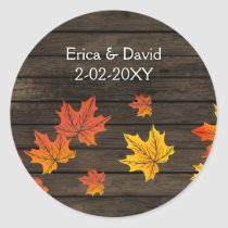 Barnwood Rustic Fall Wedding favor stickers
