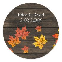 Barnwood Rustic Fall Wedding favor stickers