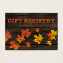 Barnwood Rustic Fall wedding gift registry Business Card