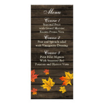 Barnwood Rustic Fall wedding menu cards