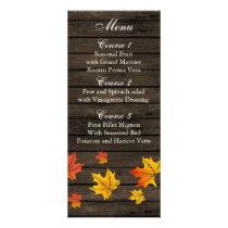Barnwood Rustic Fall wedding menu cards