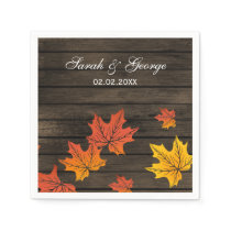 Barnwood Rustic Fall wedding napkins