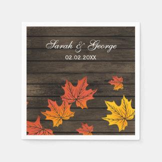 Barnwood Rustic Fall wedding napkins