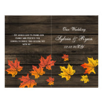 barnwood rustic fall wedding programs folded